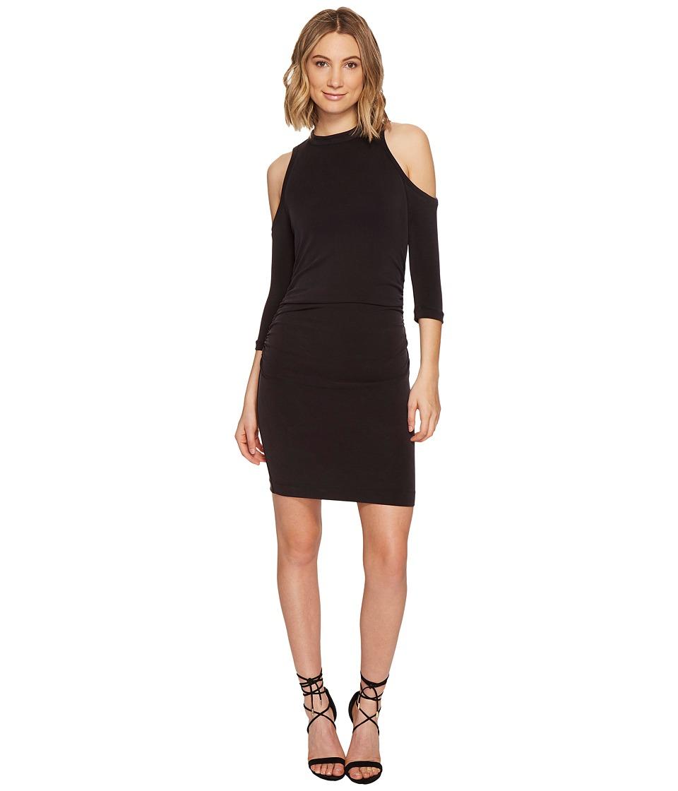 Nicole Miller - Cupro Modal Mock Neck Cold Shoulder Dress (Black) Women's Dress