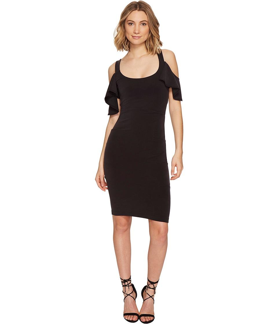 Nicole Miller - Sophia Cupro Cold Shoulder Sleeve Dress (Black) Women's Dress