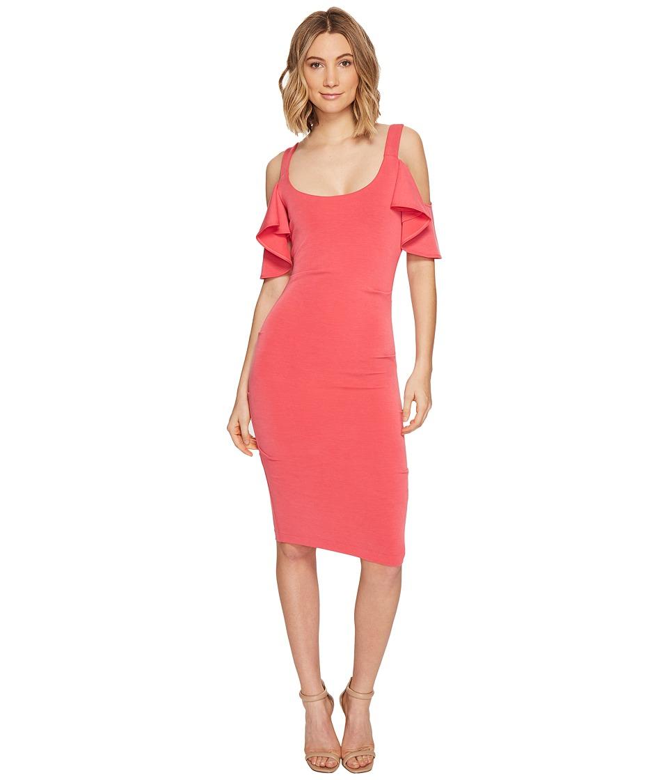 Nicole Miller - Sophia Cupro Cold Shoulder Sleeve Dress (Snapdragon) Women's Dress