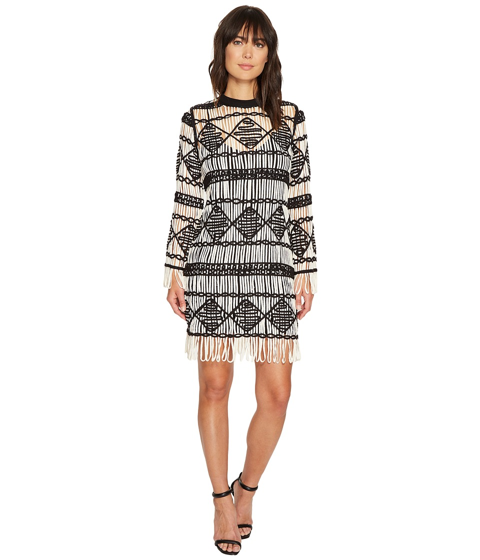Nicole Miller Soutache Sweater Crew Neck Long Sleeve Dress