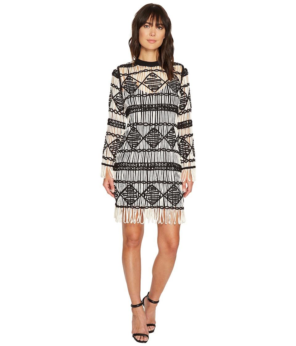 Nicole Miller - Soutache Sweater Crew Neck Long Sleeve Dress (White/Black) Women's Dress