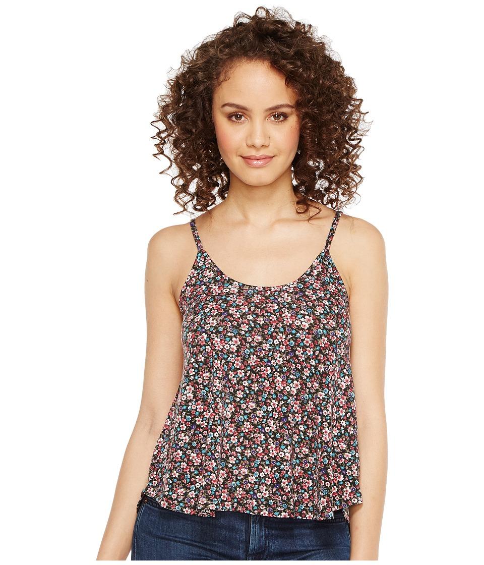 Roper - 1120 Mini Floral Print Knit Swing Tank Top (Black) Women's Sleeveless