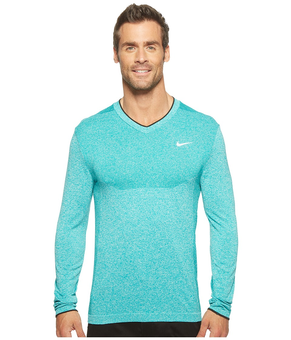 Nike - Long Sleeve Top (Rio Teal/Black) Men's Clothing