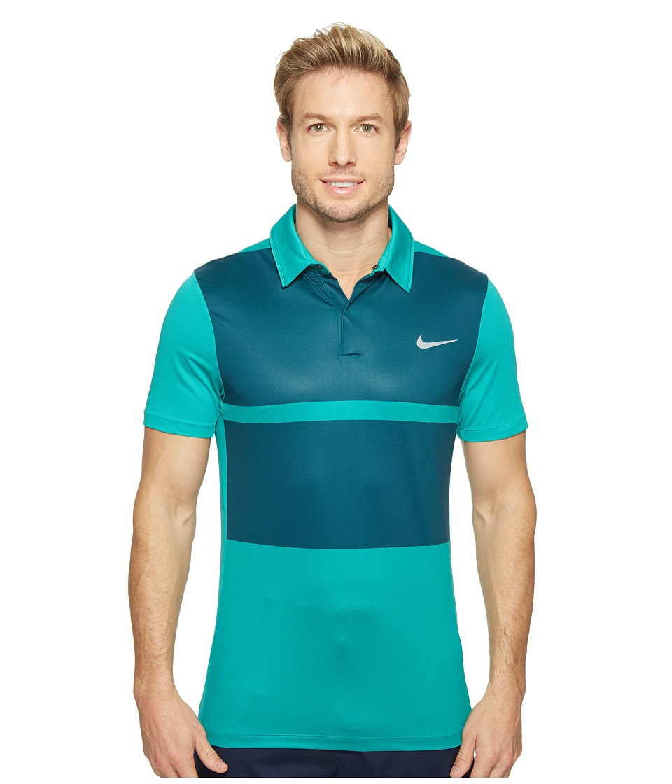 Nike - Short Sleeve Polo (Teal Charge/Midnight Turquoise/Flat Silver) Men's Clothing