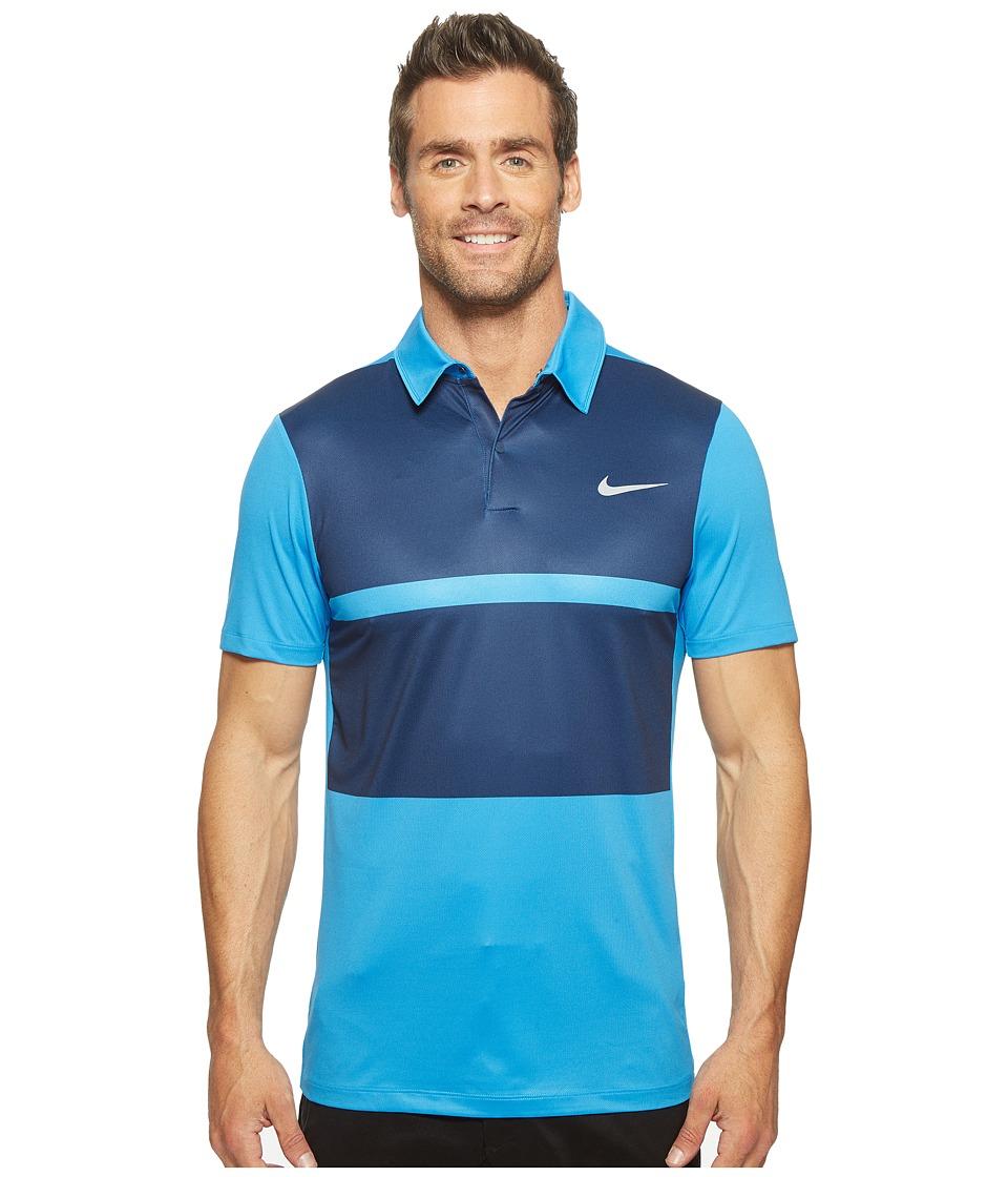 Nike - Short Sleeve Polo (Light Photo Blue/Midnight Navy/Flat Silver) Men's Clothing