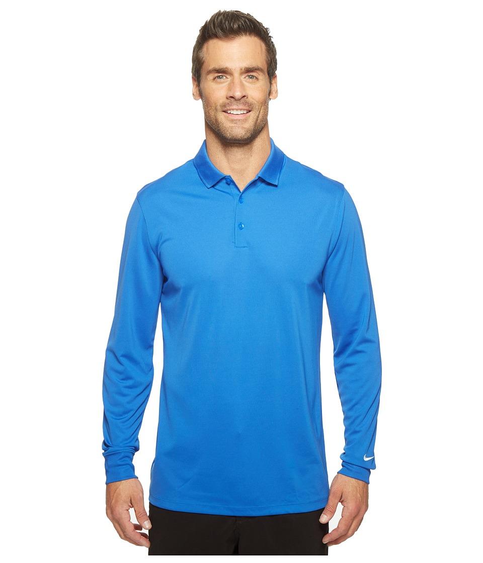 Nike - Long Sleeve Polo (Game Royal/White) Men's Clothing