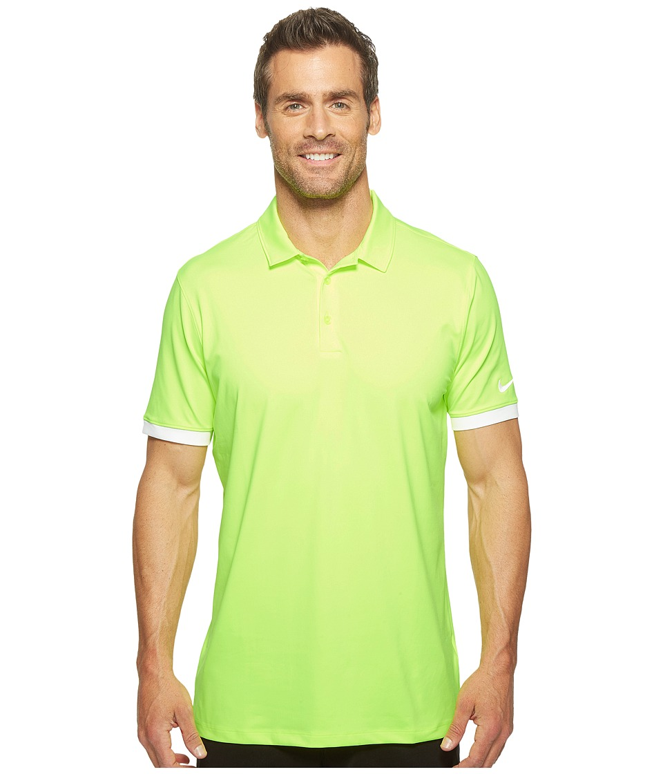 Nike - Short Sleeve Polo (Volt/White/White) Men's Clothing