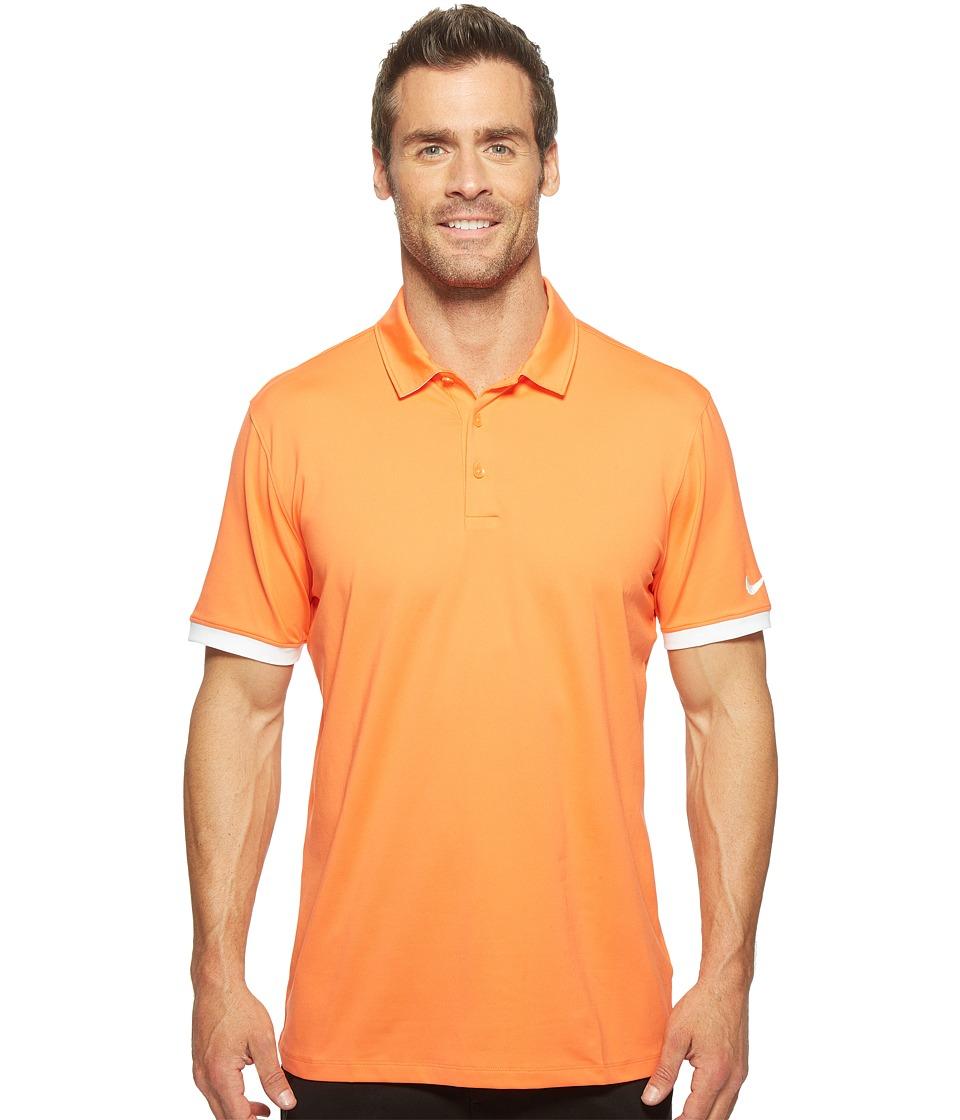 Nike - Short Sleeve Polo (Turf Orange/White/White) Men's Clothing