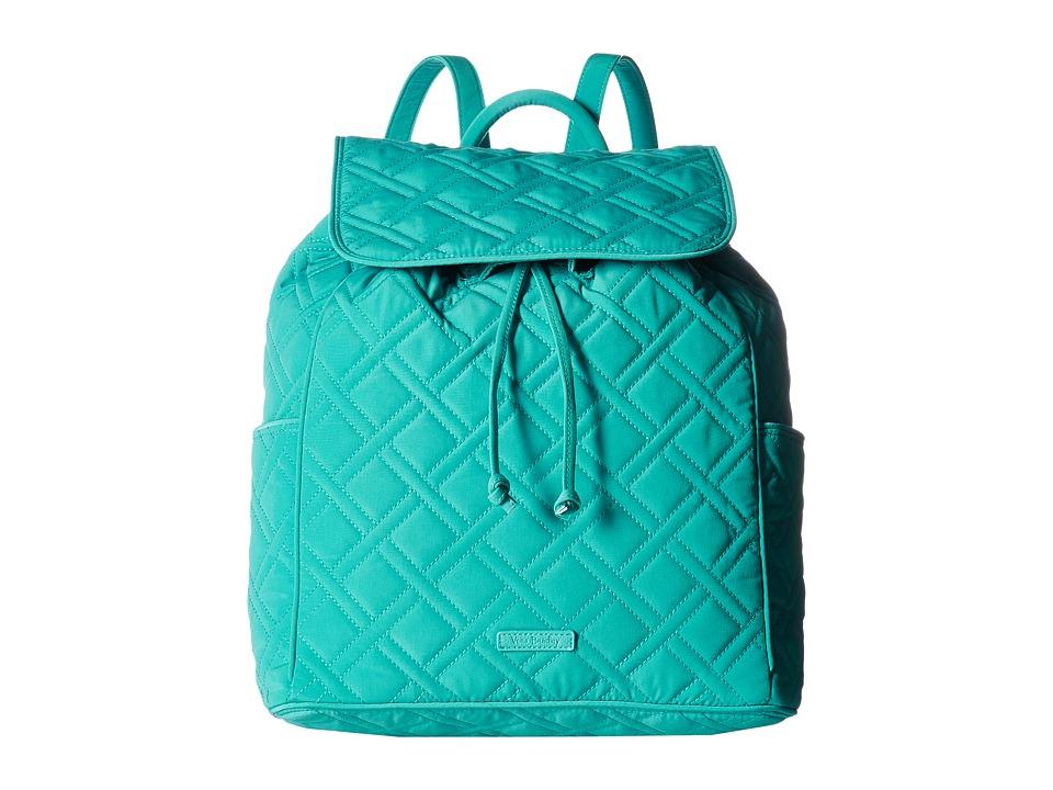 Vera Bradley Drawstring Backpack (Turquoise Sea) Backpack Bags