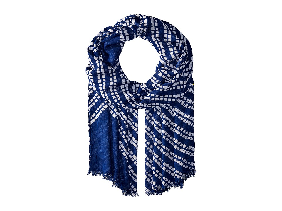 Vera Bradley - Soft Fringe Scarf (Rain Forest Stripes Navy) Scarves
