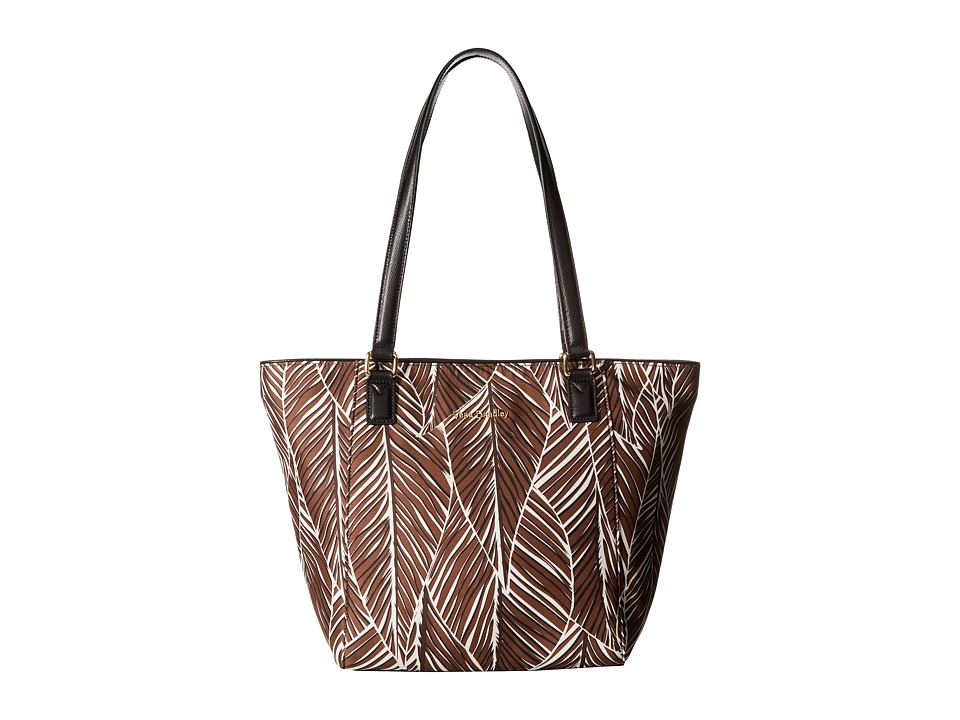 Vera Bradley - Small Ella Tote (Banana Leaves Brown) Tote Handbags