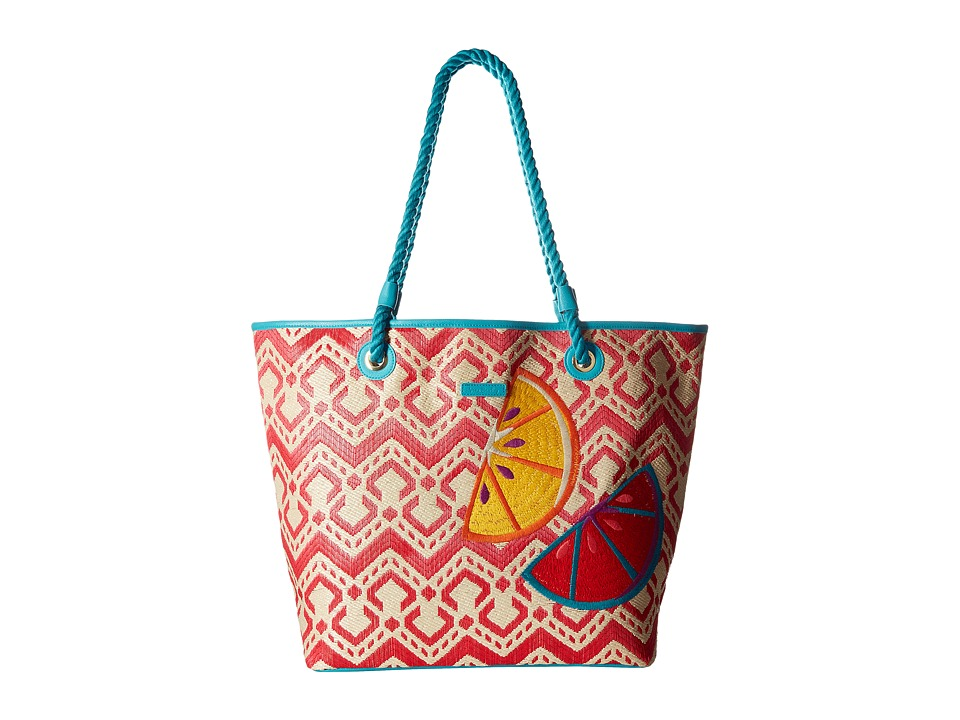 Vera Bradley - Straw Beach Tote (Red Chevron) Tote Handbags