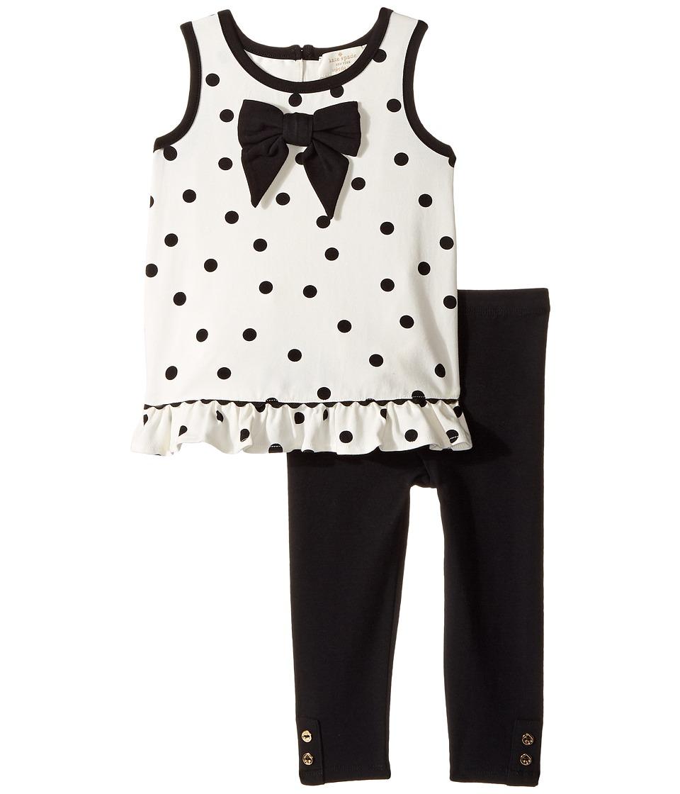 Kate Spade New York Kids - Bow Top Leggings Set (French Cream/Black) Girl's Active Sets