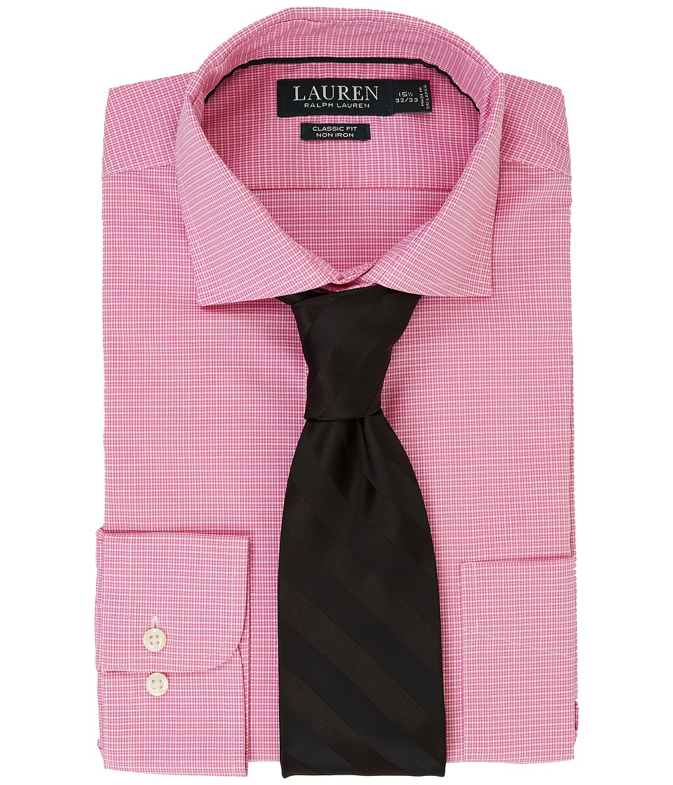 LAUREN Ralph Lauren - Classic Fit Non Iron Broadcloth Estate Collar with Pocket Dress Shirt (Pink Peony/White) Men's Long Sleeve Button Up
