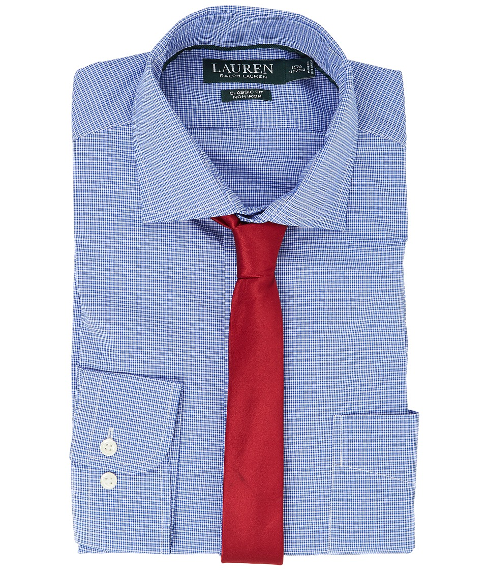 LAUREN Ralph Lauren - Classic Fit Non Iron Broadcloth Estate Collar with Pocket Dress Shirt (University Blue/White) Men's Long Sleeve Button Up