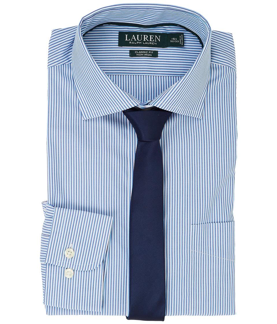 LAUREN Ralph Lauren - Classic Fit Estate Collar with A Pocket Dress Shirt (Trinidad Blue/Blue Multi) Men's Long Sleeve Button Up