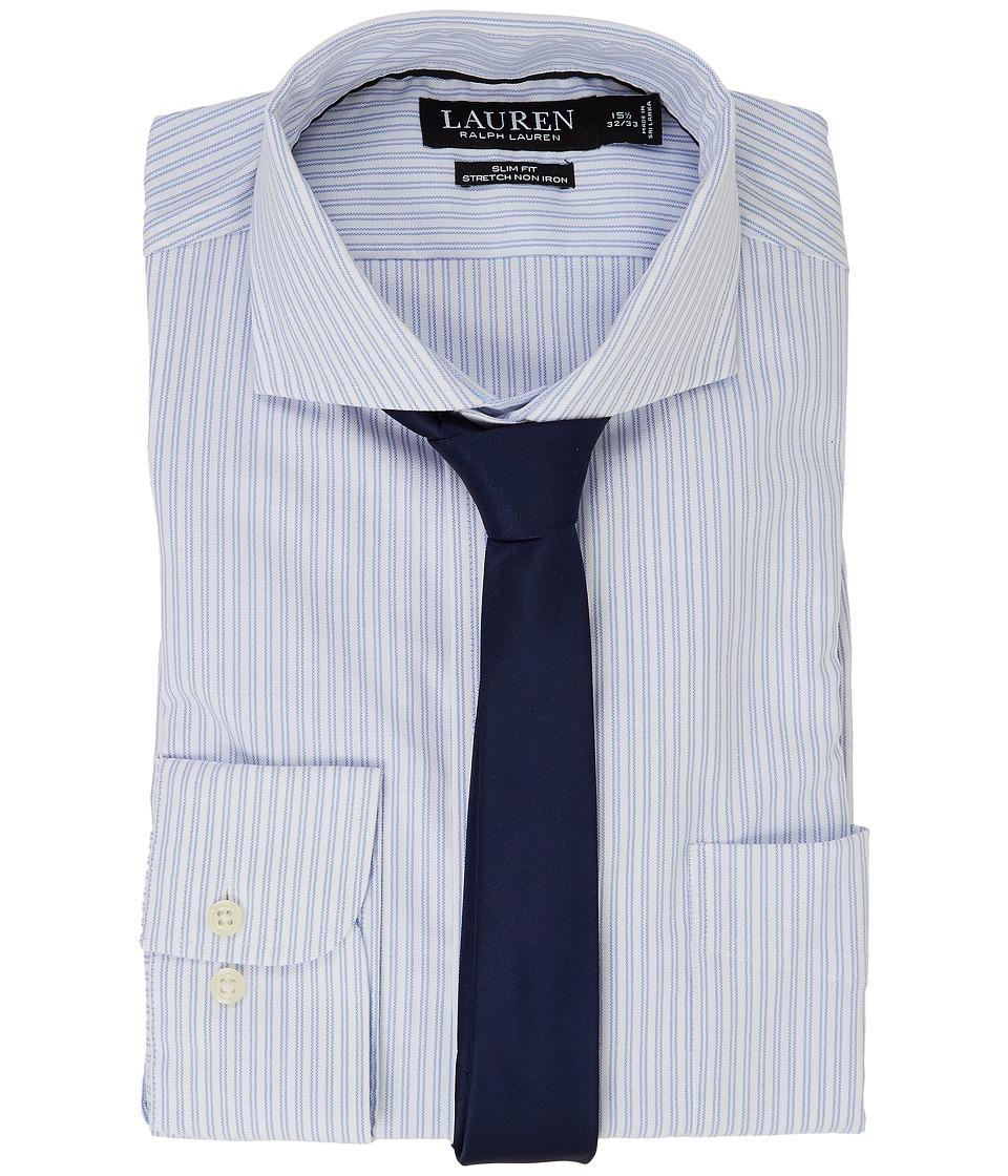 LAUREN Ralph Lauren - Stretch Slim Fit Pinpoint English Spread Collar with Pocket Dress Shirt (White/Regent Blue) Men's Long Sleeve Button Up