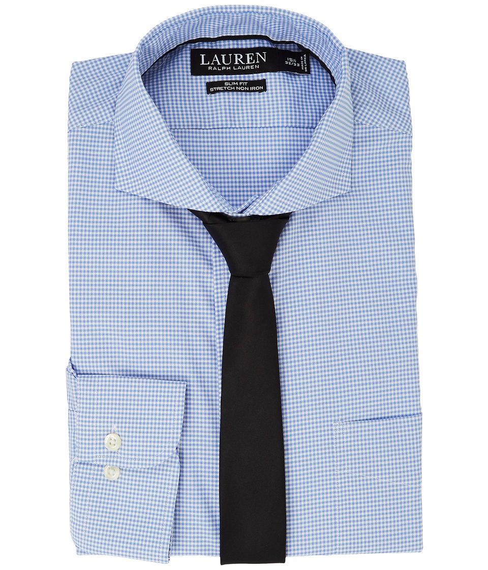 LAUREN Ralph Lauren - Stretch Slim Fit Pinpoint English Spread Collar with Pocket Dress Shirt (White/Regent Blue) Men's Long Sleeve Button Up