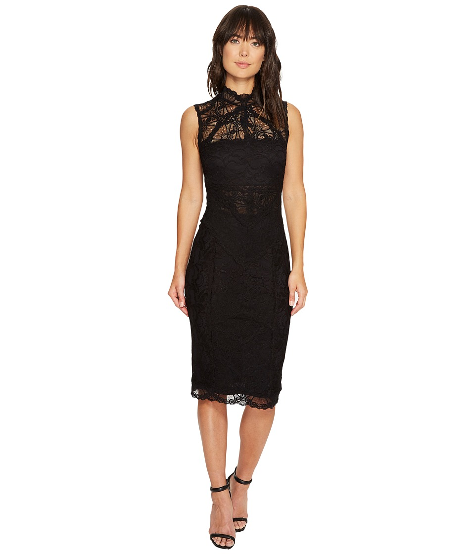 Nicole Miller - Backed Lace Midi Dress (Black/Black) Women's Dress