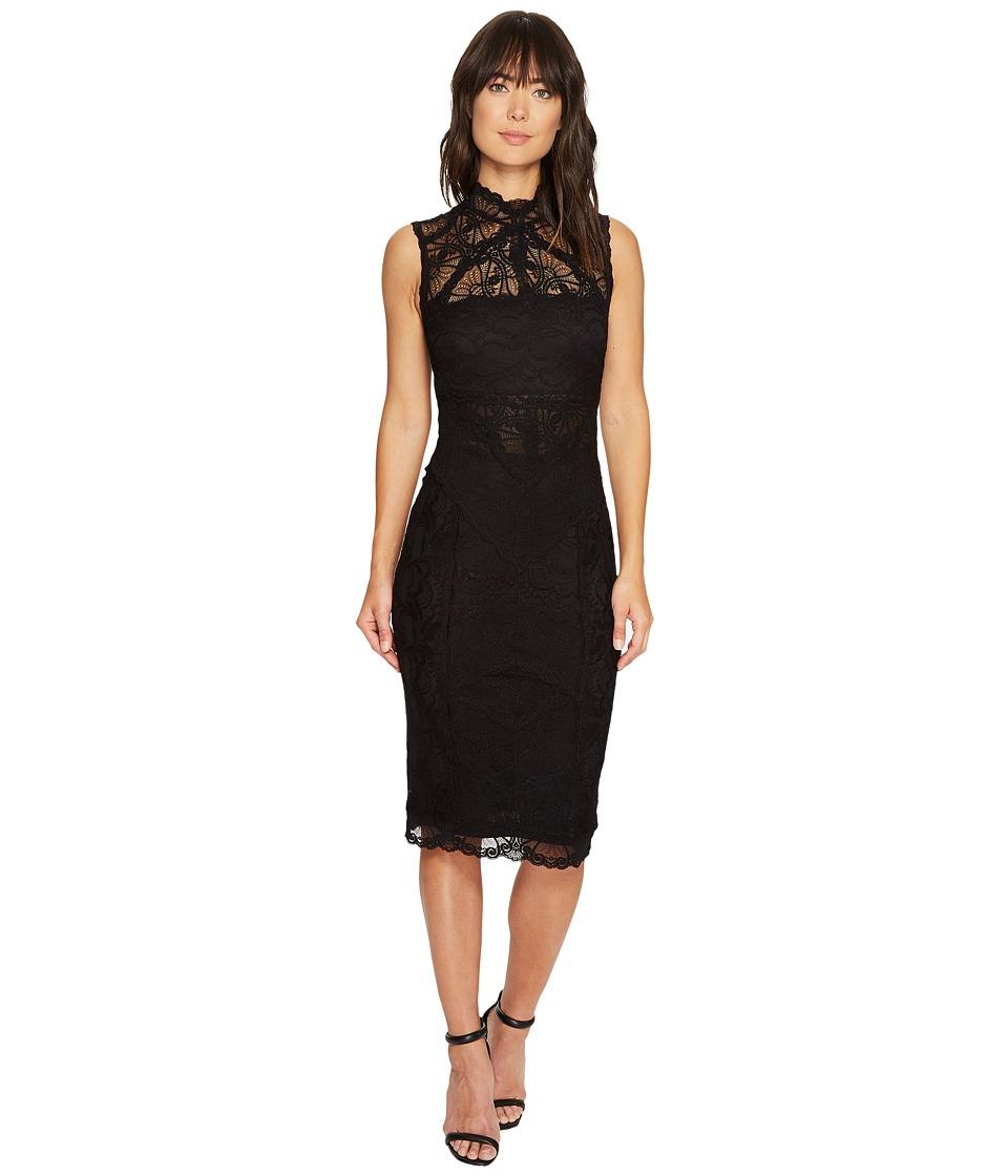 Nicole Miller Backed Lace Midi Dress (Black/Black) Women