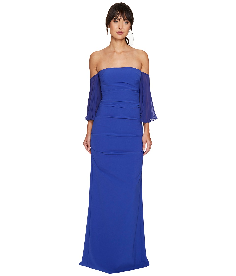 Nicole Miller - Techy Crepe Pleated Sleeves Gown (Blueberry) Women's Dress