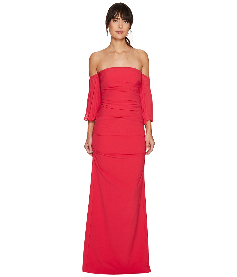Nicole Miller - Techy Crepe Pleated Sleeves Gown (Watermelon) Women's Dress