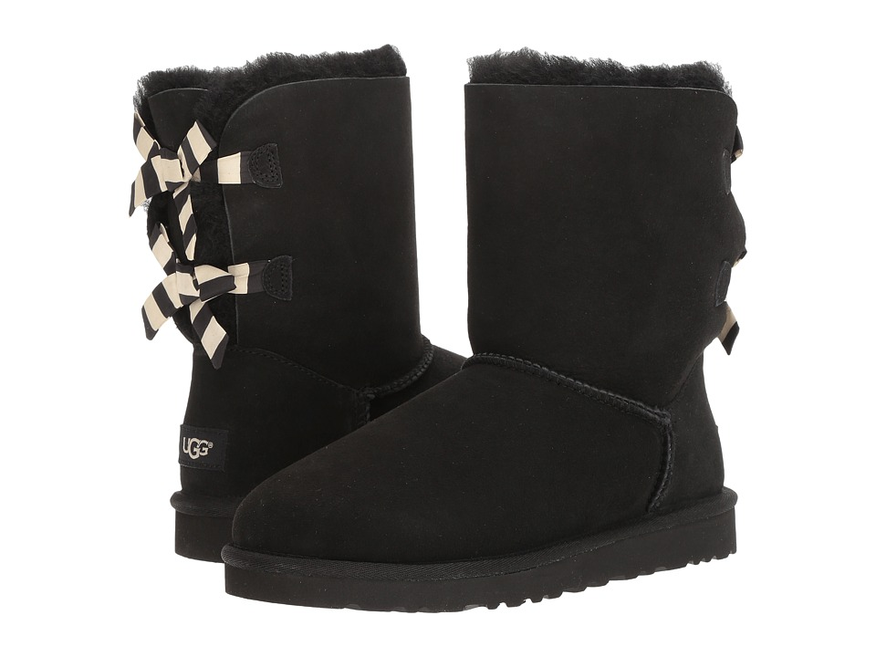 UGG - Bailey Bow Stripe (Black) Women's Cold Weather Boots