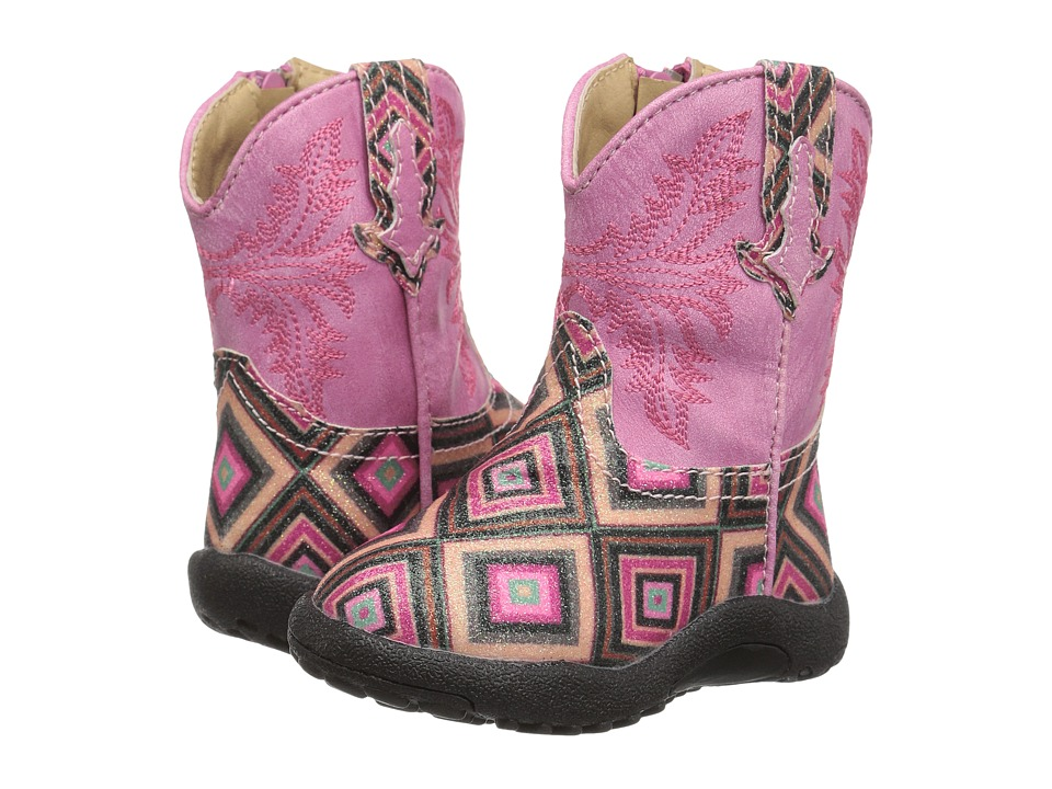 Roper Kids Glitter Gal (Infant/Toddler) (Geometric Pink Glitter Vamp Pink Shaft) Cowboy Boots