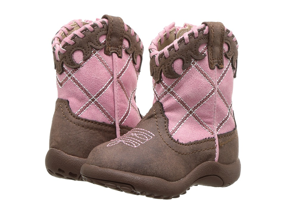 Roper Kids Lacy (Infant/Toddler) (Brown Faux Leather Vamp Pink Shaft) Cowboy Boots