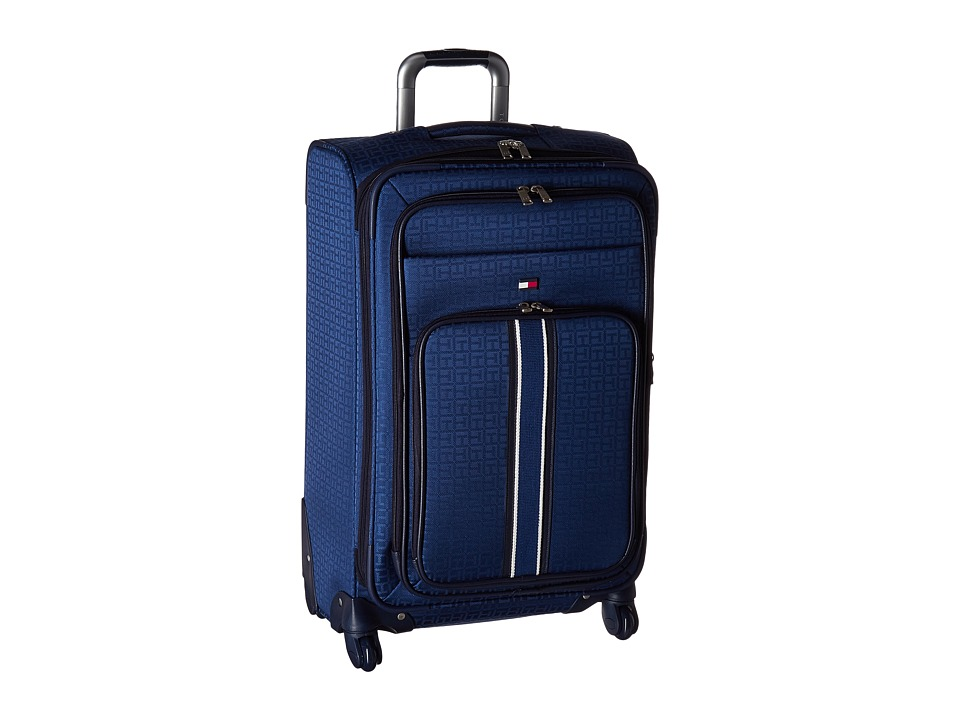 Tommy Hilfiger - Classic Signature Jacquard 25 Upright Suitcase (Blue) Pullman Luggage