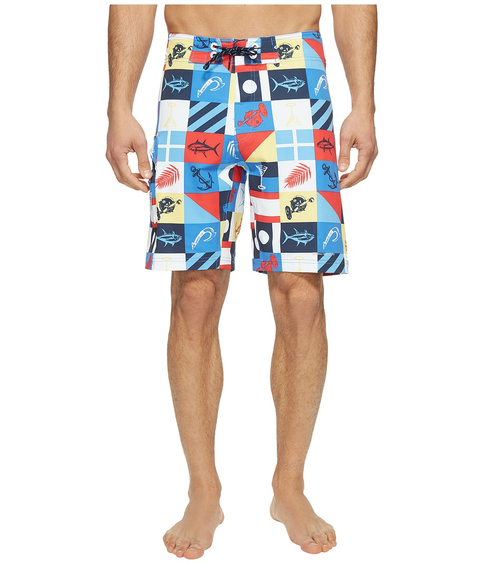 Columbia PFG Offshore II 9 inch Board Shorts (Multi Marina Flags Print) Men
