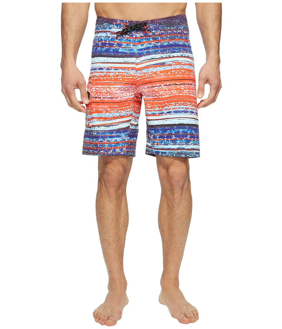 Columbia - PFG Offshore II 9 inch Board Shorts (Sunset Red Lure Stripe) Men's Swimwear