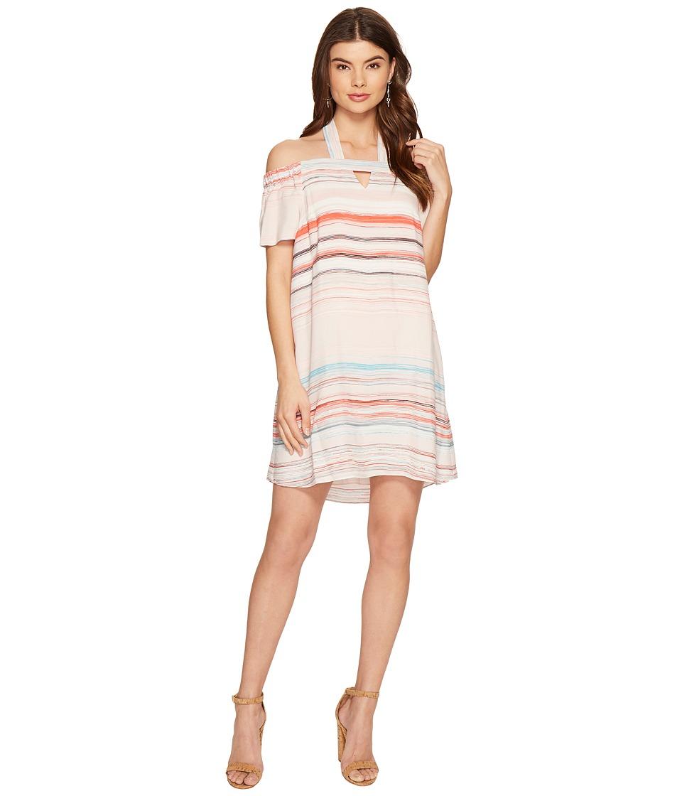 1.STATE Halter Cold Shoulder Shift Dress (Flora Pink) Women