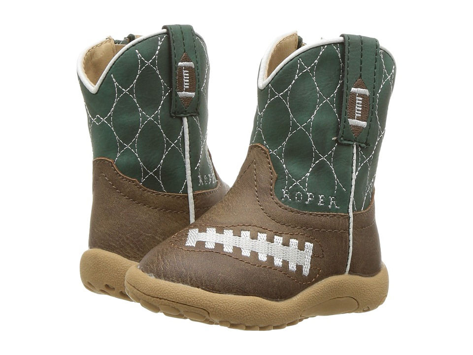 Roper Kids Friday Nights (Infant/Toddler) (Brown Faux Leather Vamp Green Shaft) Cowboy Boots