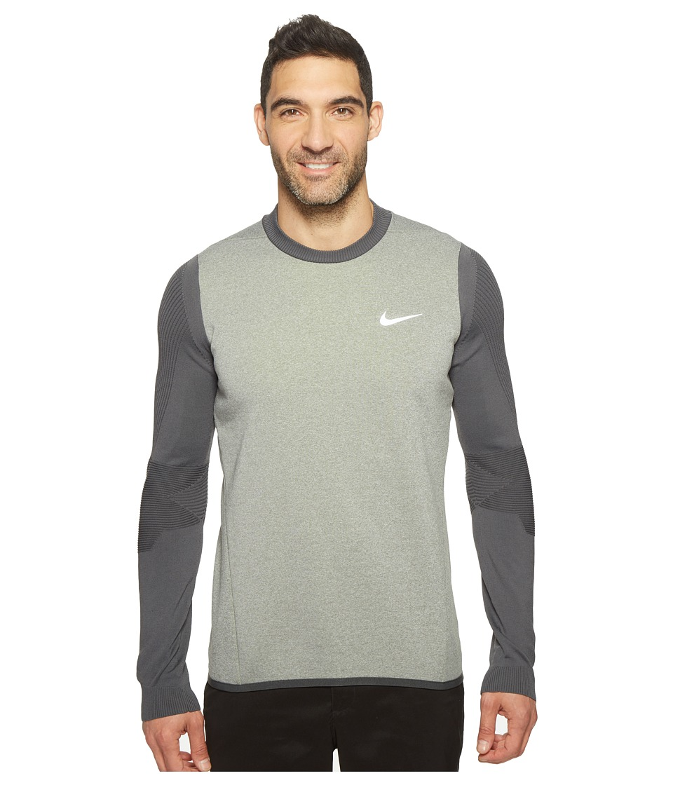 Nike - Long Sleeve Top (Carbon Heather/Volt) Men's Clothing