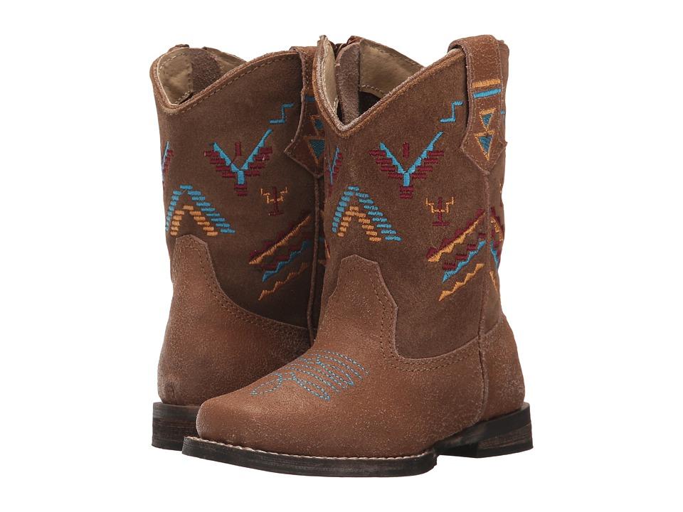 Roper Kids Hunter (Toddler) (Tan Leather Vamp/Embroidered Shaft) Cowboy Boots