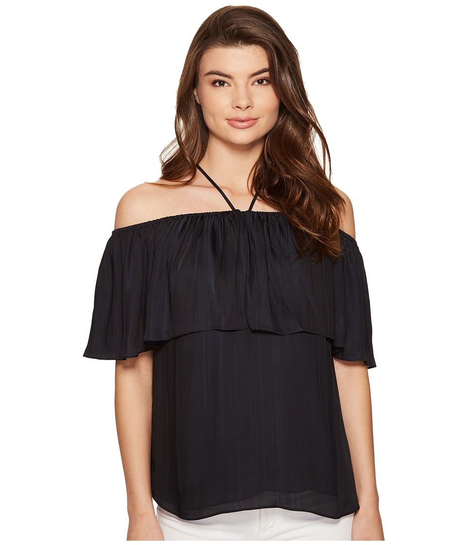 1.STATE - Halter Neckline Ruffle Top Blouse (Rich Black) Women's Blouse