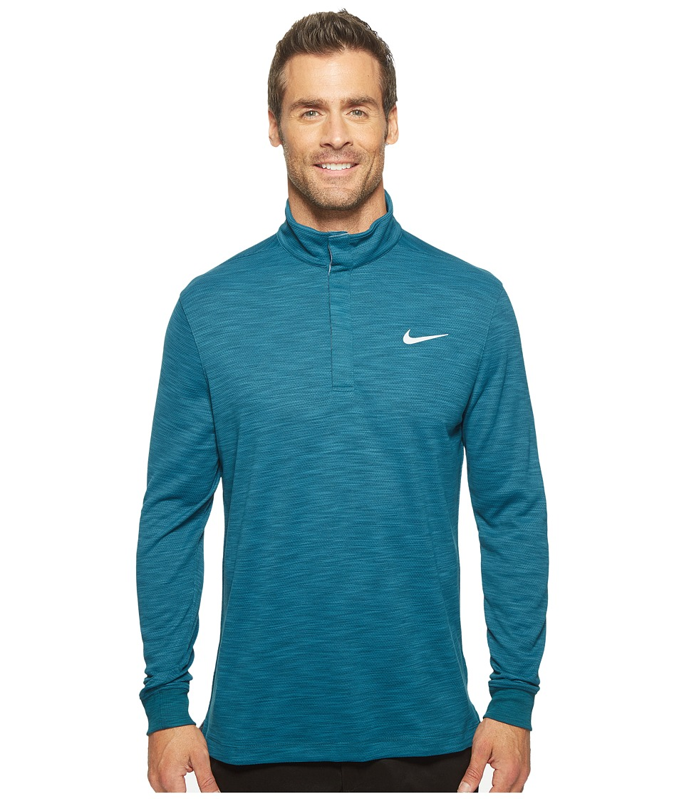 Nike - Long Sleeve Polo (Midnight Turquoise/Heather/Flat Silver) Men's Clothing