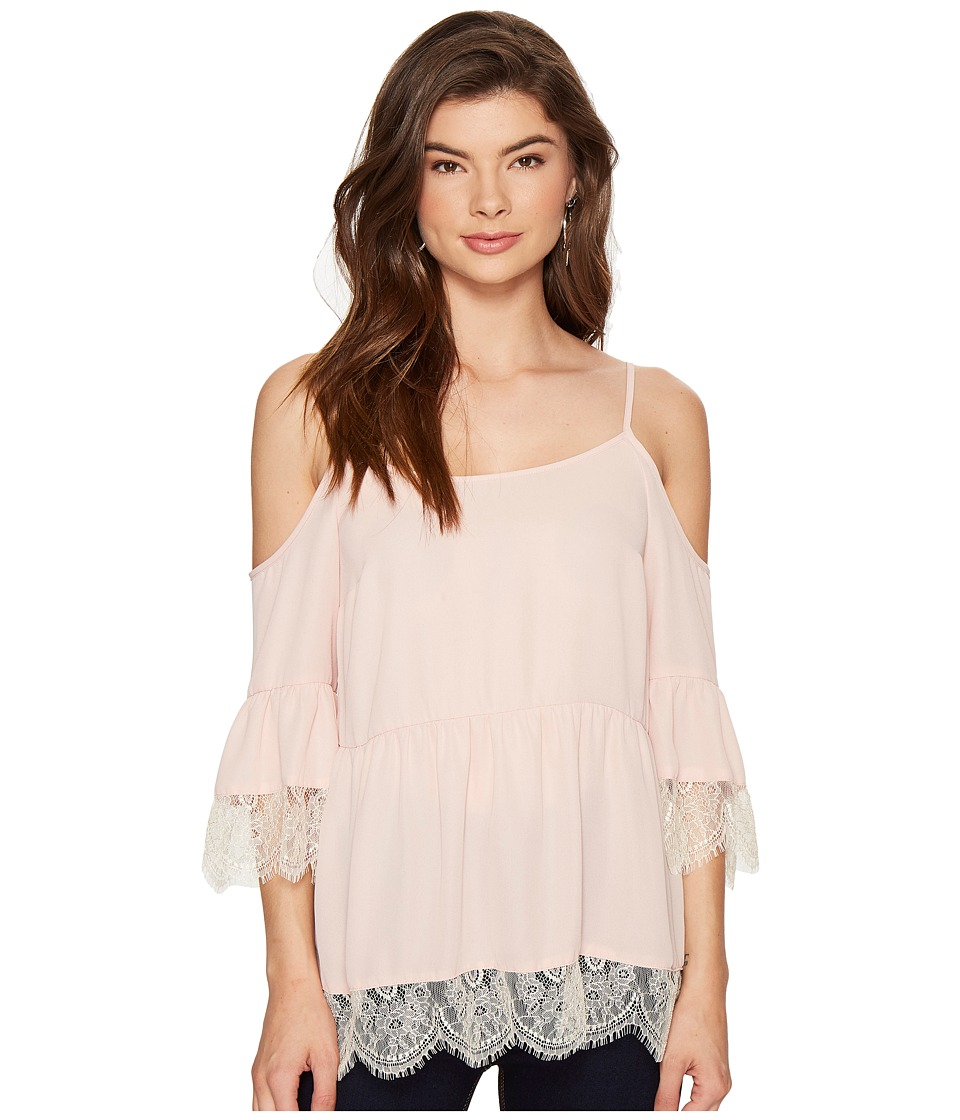 Image of 1.STATE - Cold Shoulder Blouse w/ Lace Trim (Rosy Flush) Women's Blouse