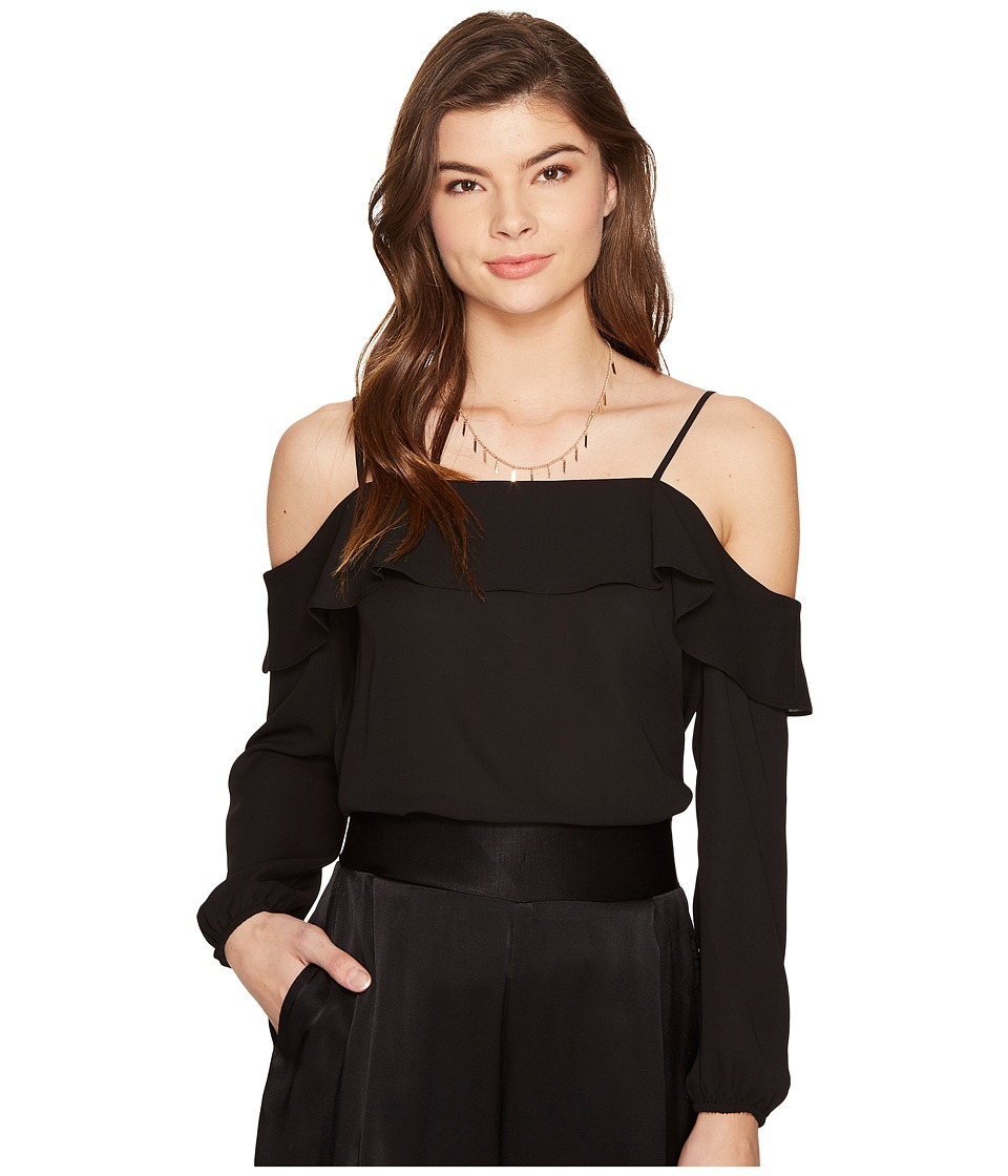 1.STATE - Cold Shoulder Blouse w/ Ruffle Top (Rich Black) Women's Blouse