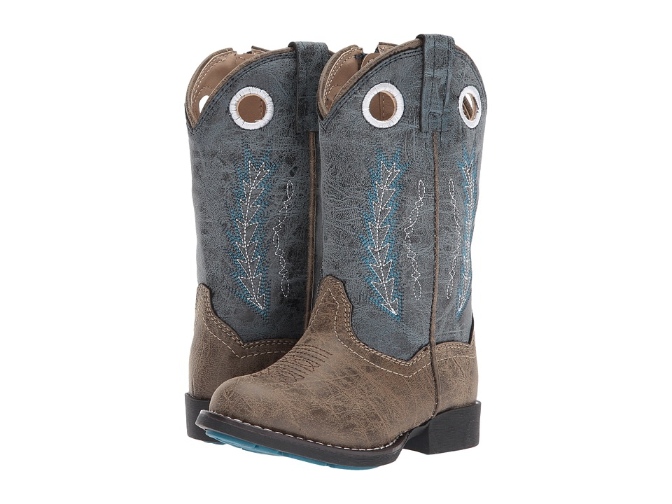 Roper Kids Hole In The Wall (Toddler) (Brown Faux Leather Vamp Blue Shaft) Cowboy Boots