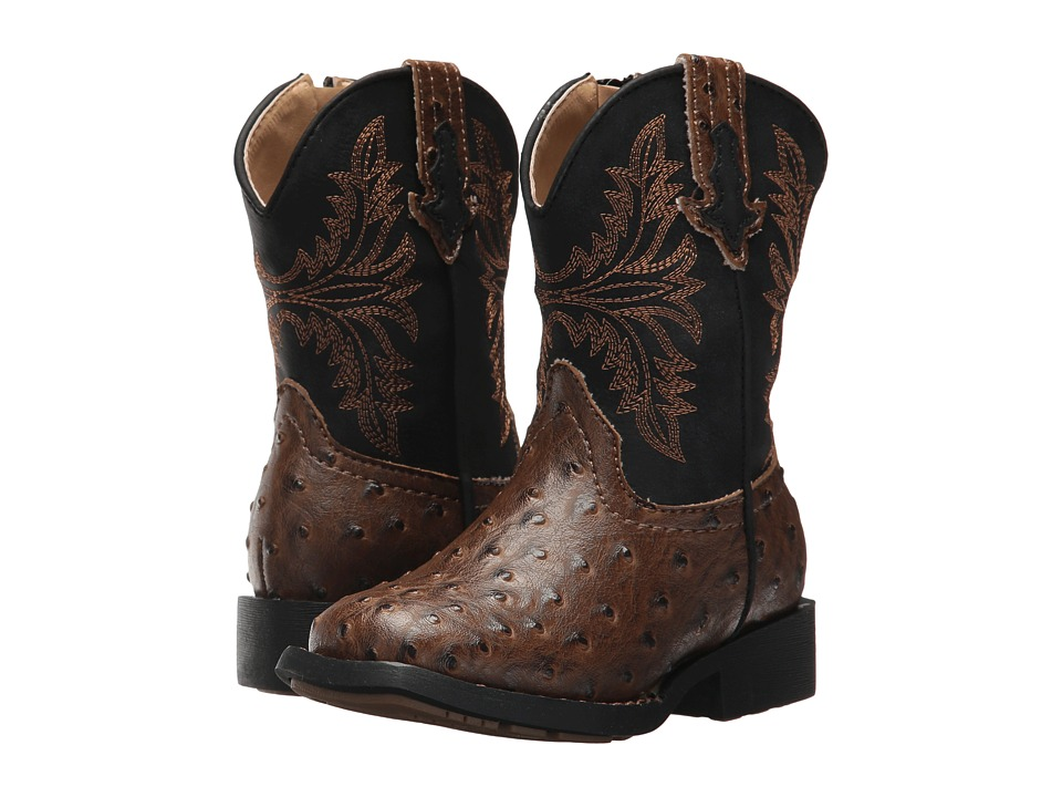 Roper Kids Jed (Toddler) (Brown Faux Ostrich Vamp Black Shaft) Cowboy Boots