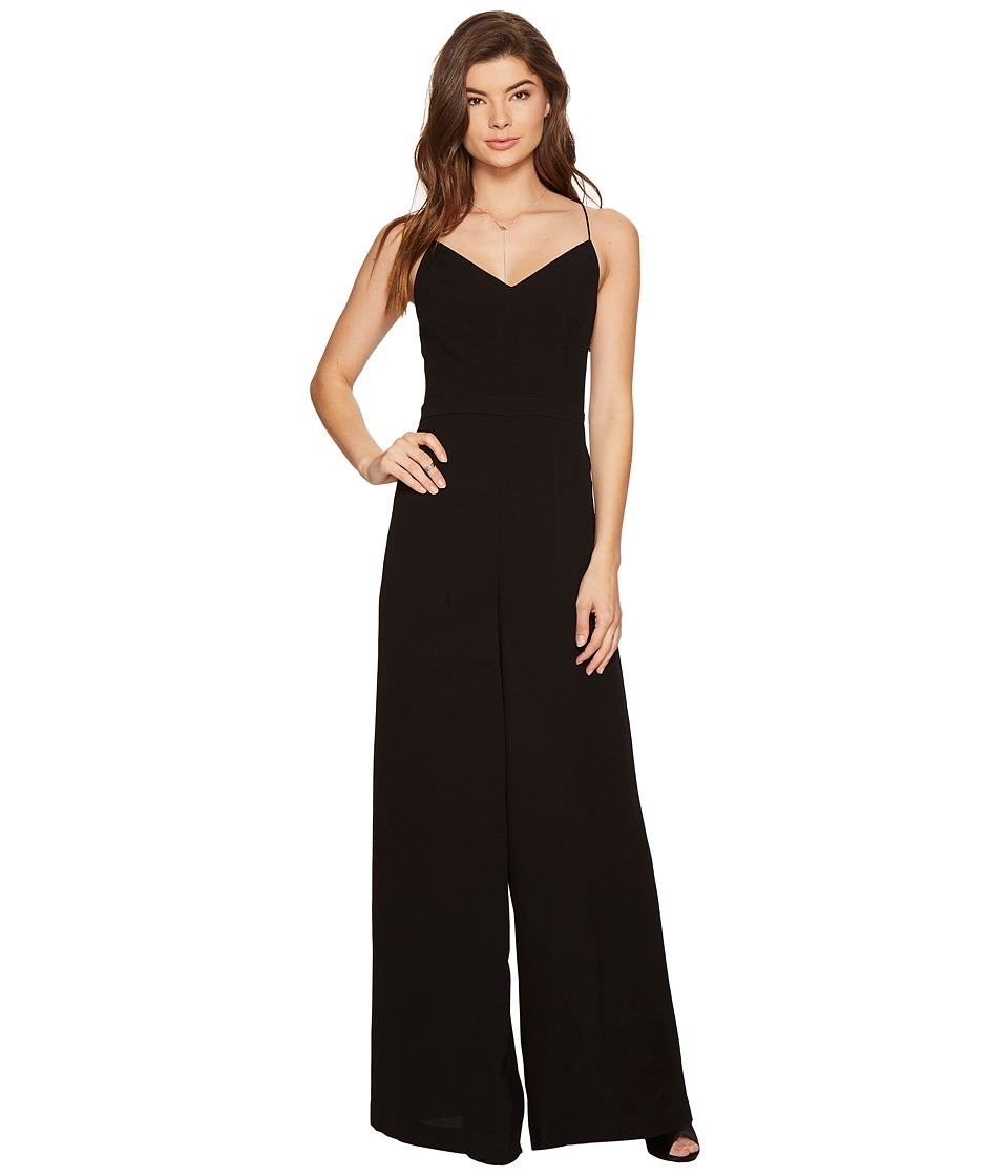 1.STATE - Lace-Up Back Wide Leg Jumpsuit (Rich Black) Women's Jumpsuit & Rompers One Piece