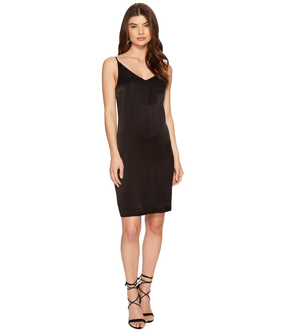 1.STATE Spaghetti Strap Shift Dress w/ Lace (Rich Black) Women