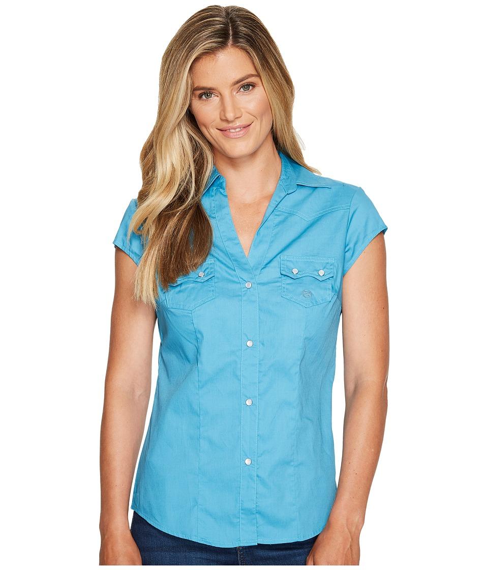 Roper - 0979 Solid Poplin - Turquoise (Blue) Women's Clothing