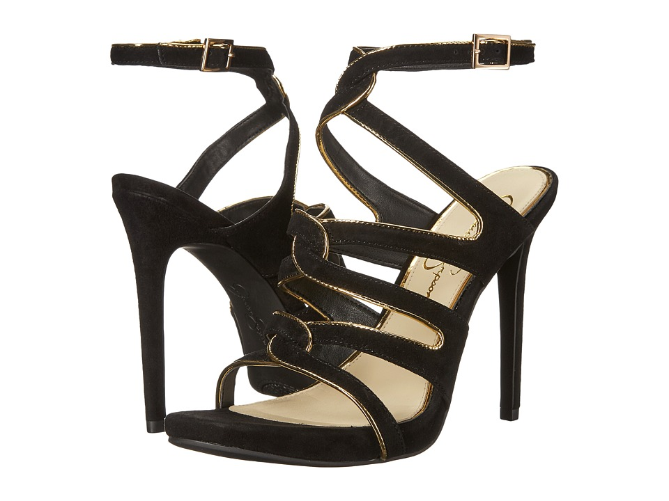 Jessica Simpson - Reyse (Black/Gold Lux Kid Suede/Liquid Metallic) Women's Shoes