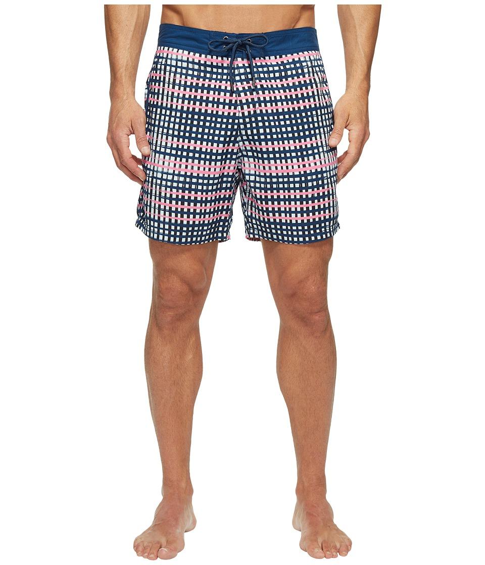 Mr. Swim Flat Plaid Printed Chuck Boardshorts (Navy) Men