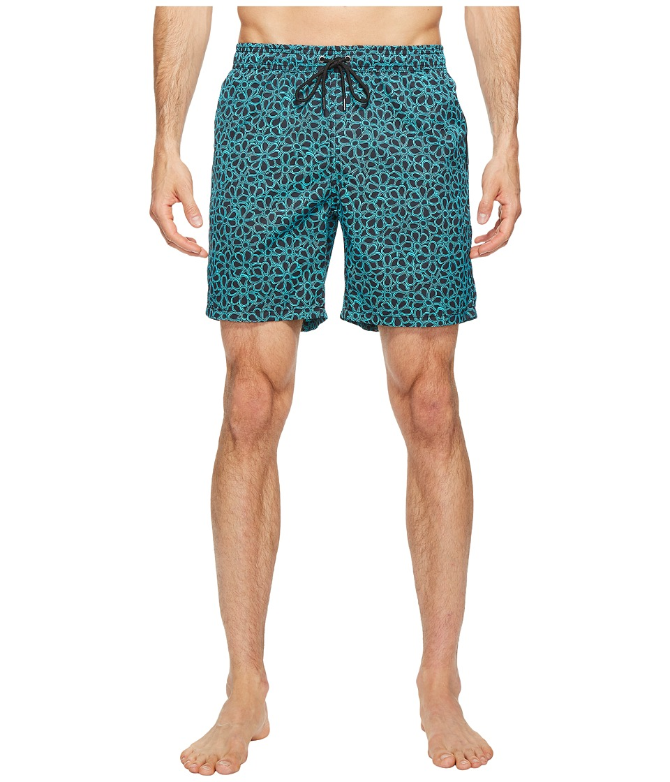 Mr. Swim - Floral Printed Dale Swim Trunk (Turquoise) Men's Swimwear