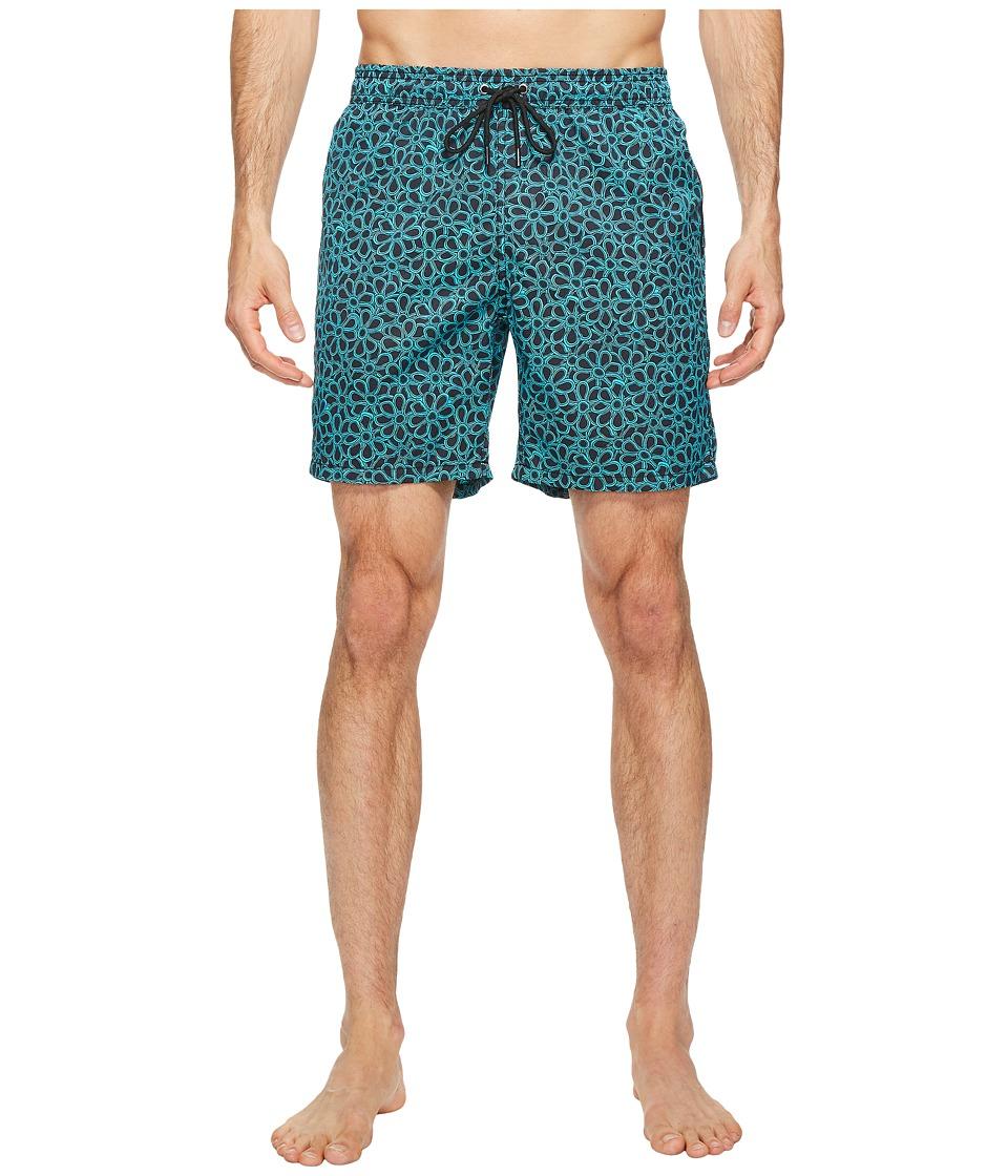 Mr. Swim - Floral Printed Dale Swim Trunk (Turquoise) Men's Swimwear