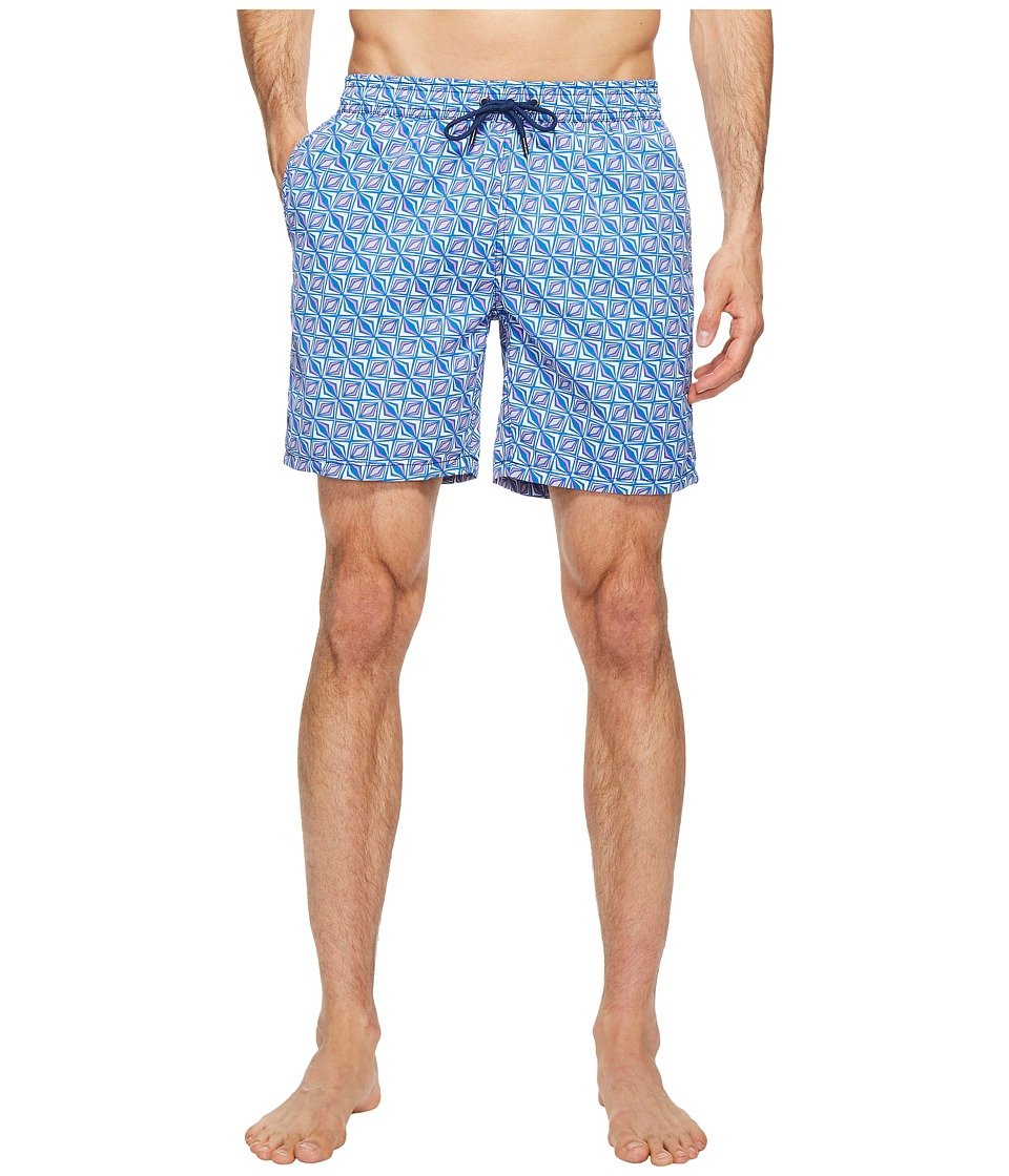 Mr. Swim - Triangular Printed Dale Swim Trunk (Navy) Men's Swimwear